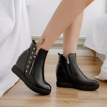 Load image into Gallery viewer, Studded Wedge Mid-Heel Short Boots Women Shoes for Winter 5056
