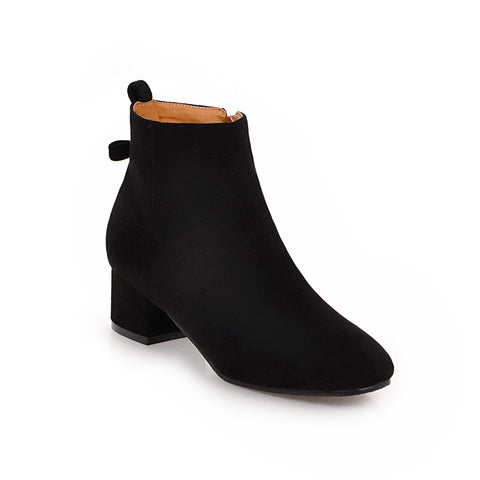 Back Bow Suede Mid-Heel Short Boots Women Shoes for Winter 3730