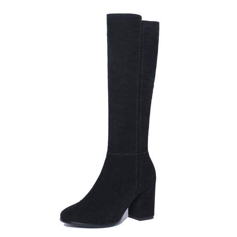 Black Suede Tall Boots Winter Shoes for Woman 1142