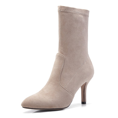 Pointed Toe Mid Calf Boots Winter Shoes High Heels for Woman 5703