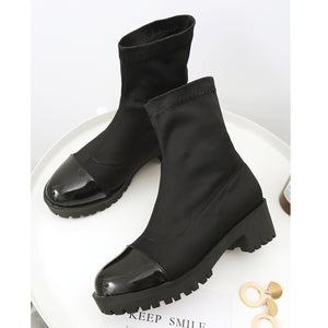 Color Block Mid-Heel Short Boots Women Shoes for Winter 2537