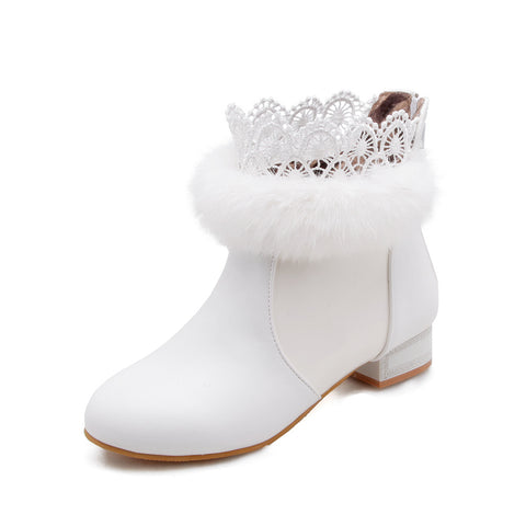 Fur Lace Ankle Boots Square Low Heels Shoes 8778