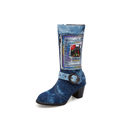 Denim?Mid Calf Boots Winter Shoes for Woman 3257