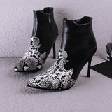 Pointed Toe Faux Snake Leather Ankle Boots Stiletto Heel 3775