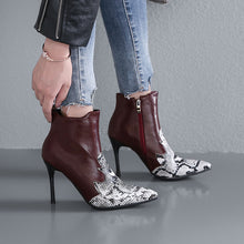 Load image into Gallery viewer, Pointed Toe Faux Snake Leather Ankle Boots Stiletto Heel 3775