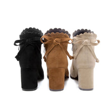Load image into Gallery viewer, Knot Suede Mid-Heel Short Boots Women Shoes for Winter 7970