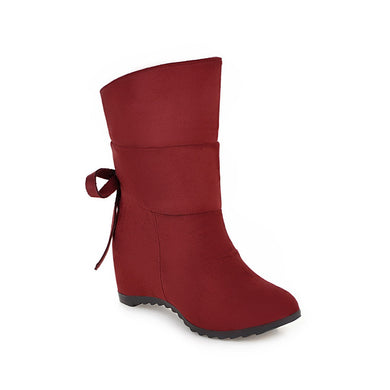 Knot Mid Calf Boots Winter Shoes for Woman 7589