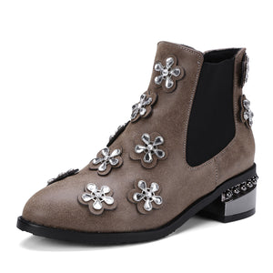 Rhinestone?Mid-Heel Short Boots Women Shoes for Winter 3546