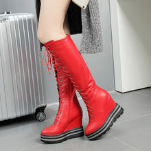 Load image into Gallery viewer, Lace Up Platform Wedge Heel Tall Boots Winter Shoes for Woman 7046