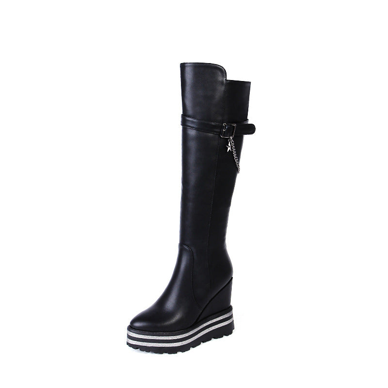 eb5bf9d1be1 Tall Boots Platform Wedges Heels Winter Shoes for Woman 5668 – Shoeu
