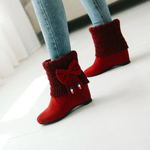 Load image into Gallery viewer, Bowtie Wedge Mid-Heel Short Boots Women Shoes for Winter 1585