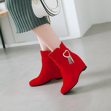 Load image into Gallery viewer, Love Tassel Wedge Mid-Heel Short Boots Women Shoes for Winter 3160