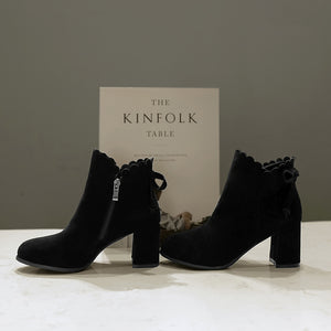 Knot Suede Mid-Heel Short Boots Women Shoes for Winter 7970