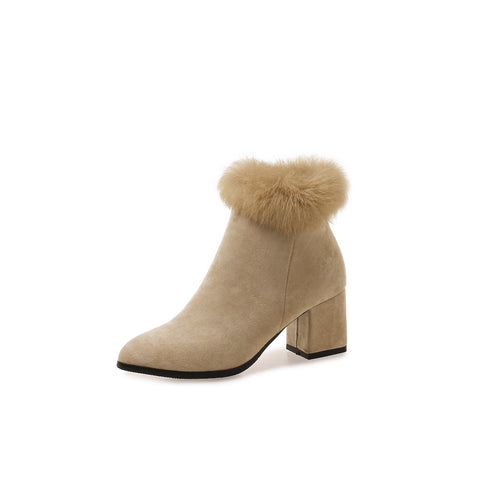 Fur Suede High Heels Short Boots Winter Women Shoes 2700