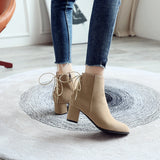 Back Lace Up High Heels Short Boots for Woman 4348