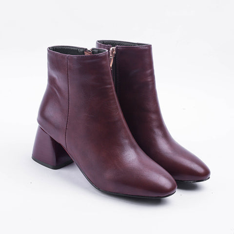 Square Toe Mid-Heel Short Boots Women Shoes for Winter 7392