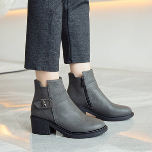 Cool Mid-Heel Short Boots Women Shoes for Winter 2319