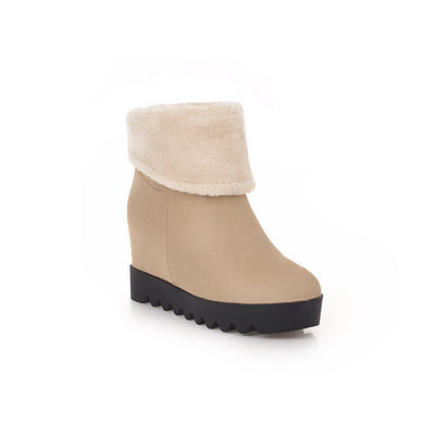 Warm Wedge Mid-Heel Short Snow Boots Women Shoes for Winter 4163