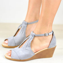 Load image into Gallery viewer, Buckle Wedges Platform High Heels Sandals Women Shoes