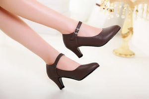 Buckle Belt Round Head Women Pumps