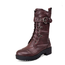 Load image into Gallery viewer, Soft Leather Women Boots Lace Up Round Toe Ankle Boots Shoes Woman