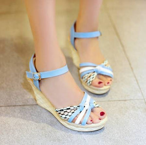 Fashion Ankle Straps Wedges Sandals Pumps Platform High Heels Women Dress Shoes 2498