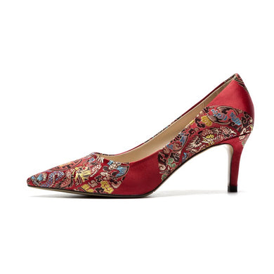 Pointed Toe Women Pumps High Heels Red Wedding Shoes Woman