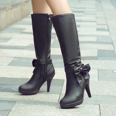 Bow High Heels Mid Calf Boots Women Shoes Stiletto Heel 1802