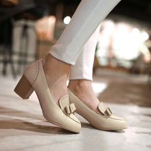 Load image into Gallery viewer, Laser Bow Chunky Heel Pumps Platform High Heels Fashion Women Shoes 2629