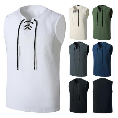 Men's Fashion Linen Hip-Hop V-Neck Sleeveless Yoga Tops T-shirt