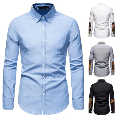 Men's Traditional Slim Fit Comfortable Oxford Ethnic Color Block Shirts