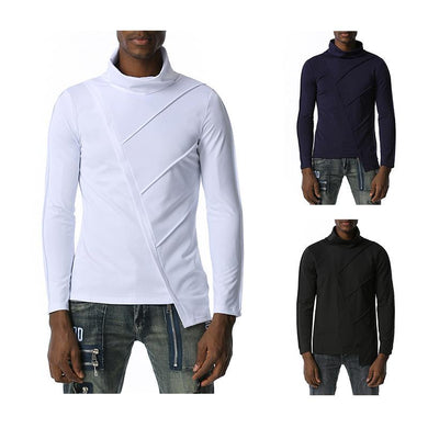 Men's Dark Slim Fit Turtle Neck Irregularity Long Sleeves T-shirt