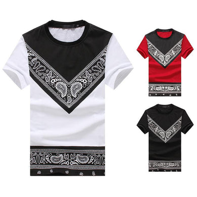 Men's Round Neck Fashion Short Sleeves Ethnic Printing All-Matching T-shirt