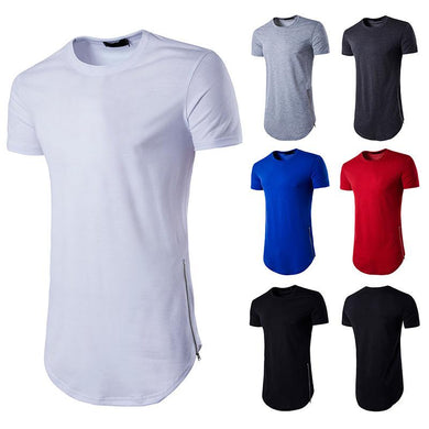 Men's Personality Street Style Double Zipper Long Round Neck T-shirt