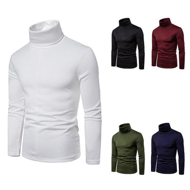 Men's Plus Size Fleece Turtle Neck Long Sleeves T-shirt