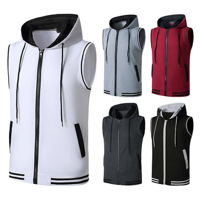 Men's Workout Hooded Vest Workout Fitness Muscle Sleeveless Workout T-shirt
