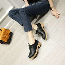 Load image into Gallery viewer, Lace Up Pu Leather Pumps Platform High Heels Women Shoes 9382