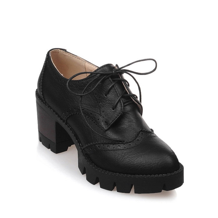 Lace Up Women Pumps Platform Oxfords High Heels Shoes Woman