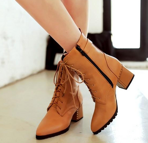 Lace Up Buckle Ankle Boots High Heels Shoes Woman