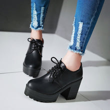 Load image into Gallery viewer, Lace Up PU Leather Women Pumps Platform High Heels Thick Heeled Shoes Woman