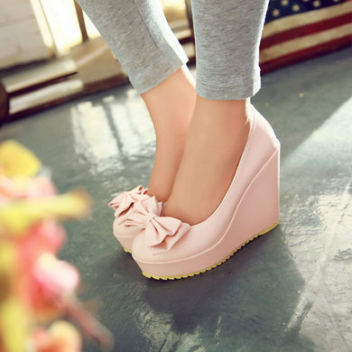 Women Wedges Bowtie Platform Shoes