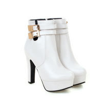 Load image into Gallery viewer, Buckle Zipper High Heels Ankle Boots Women Shoes New Arrival