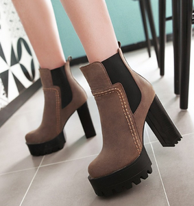 Faux Leather High Heels Women Short Boots Chunky Heel