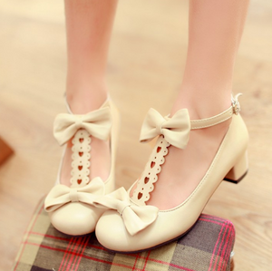 Bowtie T Strap Women Low Heels Casual Shoes
