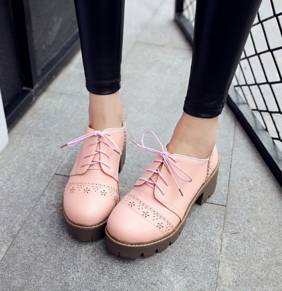 Round Toe Lace Up Platform High Heels Women Shoes