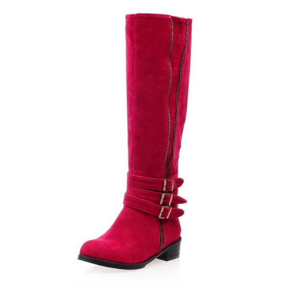 Winter Faux Suede Low Heeled Knee High Boots
