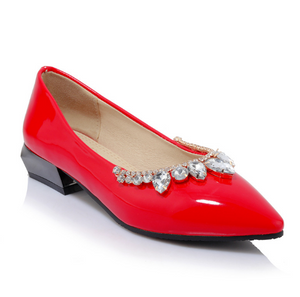 Patent Leather Women Flats Pointed Toe Rhinestone Shoes