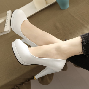 Black, Beige, White Heel Pumps Platform High Heels Women Shoes 9488