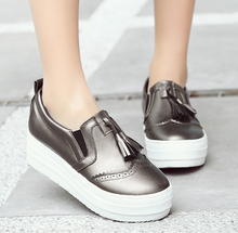 Load image into Gallery viewer, Women Platform Tassel Wedges Shoes Loafers