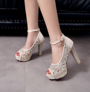 Ankle Strap Lace Sandals Women Platform Pumps Peep Toe High Heels Shoes Woman